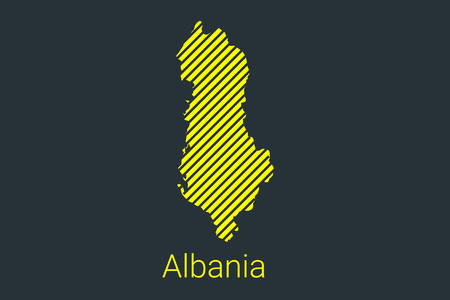 Map of Albania, striped map in a black strip on a yellow background for coronavirus infographics and quarantine area markers and restrictions. vector illustration