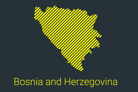Map of Bosnia and Herzegovina, striped map in a black strip on a yellow background for coronavirus infographics and quarantine area markers and restrictions. vector illustration Stock fotó - 147865755