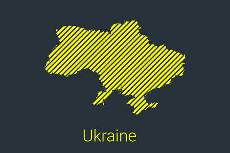Map of Ukraine, striped map in a black strip on a yellow background for coronavirus infographics and quarantine area markers and restrictions. vector illustration