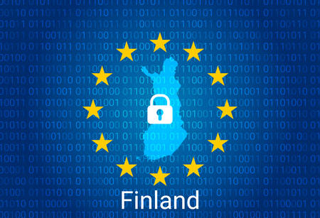 Map of Finland, with lock and binary code background. europe union internet blocking, virus attack, privacy protect. vector illustration Stock fotó - 147670330