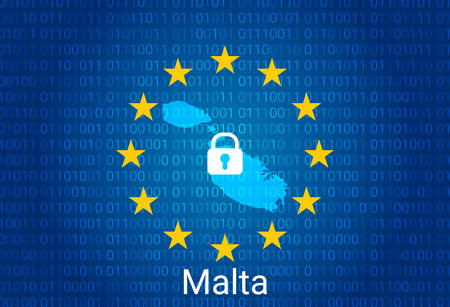 Map of Malta, with lock and binary code background. europe union internet blocking, virus attack, privacy protect. vector illustration Stock fotó - 147670353