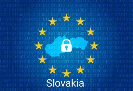 Map of Slovakia, with lock and binary code background. europe union internet blocking, virus attack, privacy protect. vector Stock Illustratie