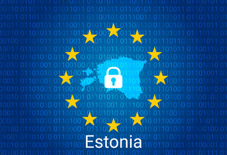 Map of Estonia, with lock and binary code background. europe union internet blocking, virus attack, privacy protect. vector
