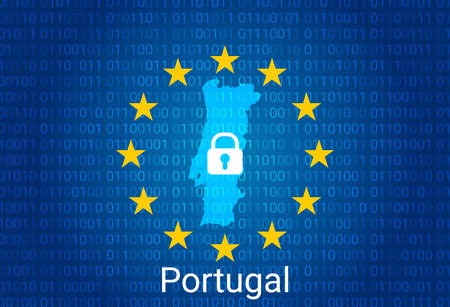 Map of Portugal, with lock and binary code background. europe union internet blocking, virus attack, privacy protect. vector illustration