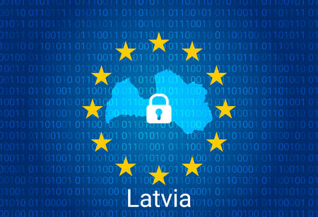 Map of Latvia, with lock and binary code background. europe union internet blocking, virus attack, privacy protect. vector illustration