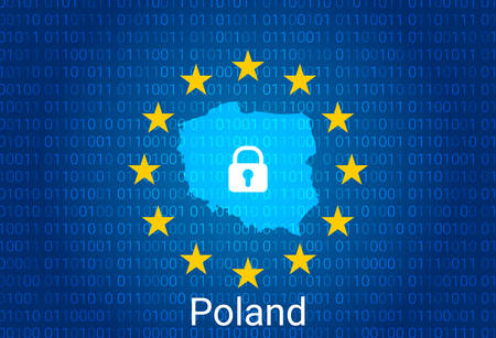 Map of Poland, with lock and binary code background. europe union internet blocking, virus attack, privacy protect. vector Stock fotó - 149636933