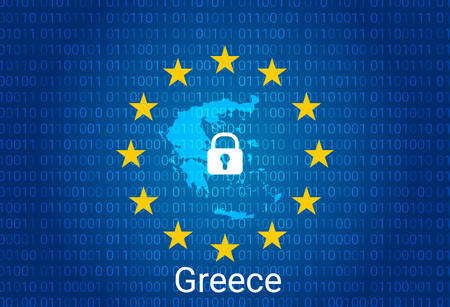 Map of Greece, with lock and binary code background. europe union internet blocking, virus attack, privacy protect. vector illustration