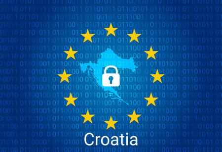 Map of Croatia, with lock and binary code background. europe union internet blocking, virus attack, privacy protect. vector