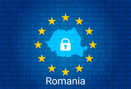 Map of Romania, with lock and binary code background. europe union internet blocking, virus attack, privacy protect. vector