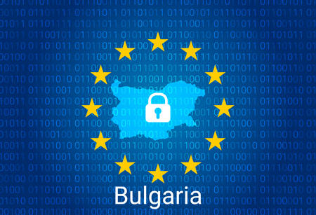 Map of Bulgaria, with lock and binary code background. europe union internet blocking, virus attack, privacy protect. vector Stock Illustratie