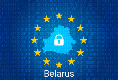 Map of Belarus, with lock and binary code background. europe union internet blocking, virus attack, privacy protect. vector Stock Illustratie