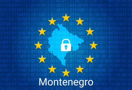 Map of Montenegro, with lock and binary code background. europe union internet blocking, virus attack, privacy protect. vector illustration Stock Illustratie