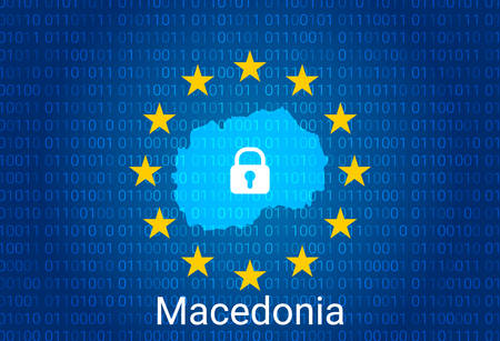 Map of Macedonia, with lock and binary code background. europe union internet blocking, virus attack, privacy protect. vector illustration