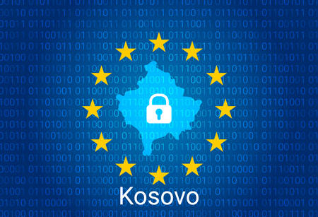 Map of Kosovo, with lock and binary code background. europe union internet blocking, virus attack, privacy protect. vector illustration