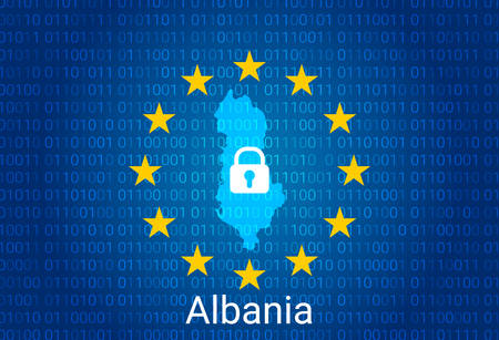 Map of Albania, with lock and binary code background. europe union internet blocking, virus attack, privacy protect. vector illustration Stock Illustratie