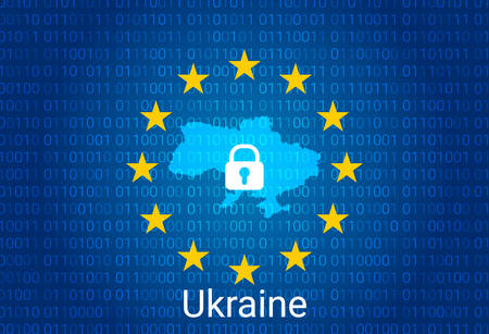 Map of Ukraine, with lock and binary code background. europe union internet blocking, virus attack, privacy protect. vector