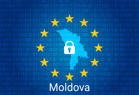 Map of Moldova, with lock and binary code background. europe union internet blocking, virus attack, privacy protect. vector Stock Illustratie