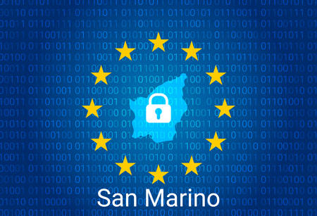Map of San Marino, with lock and binary code background. europe union internet blocking, virus attack, privacy protect. vector Stock Illustratie