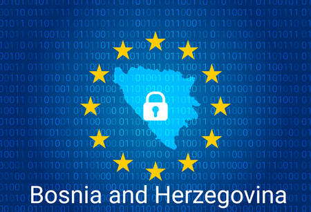 Map of Bosnia and Herzegovina, with lock and binary code background. europe union internet blocking, virus attack, privacy protect. vector illustration