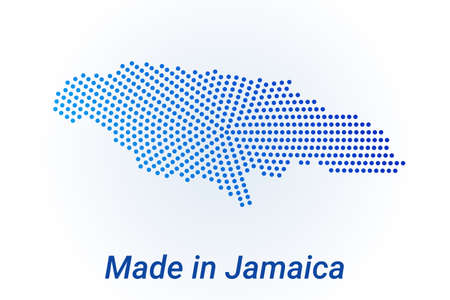 Map icon of Jamaica. Vector  illustration with text Made in Jamaica. Blue halftone dots background. Round pixels. Modern digital graphic design. Stock Illustratie