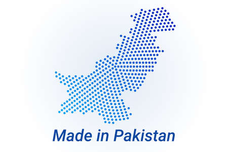 Map icon of Pakistan. illustration with text Made in Pakistan. Blue halftone dots background. Round pixels. Modern digital graphic design. Ilustração