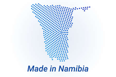Map icon of Namibia. Vector  illustration with text Made in Namibia. Blue halftone dots background. Round pixels. Modern digital graphic design.