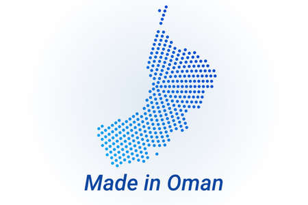 Map icon of Oman. Vector  illustration with text Made in Oman. Blue halftone dots background. Round pixels. Modern digital graphic design. Stock Illustratie