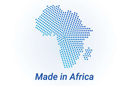 Map icon of Africa. Vector  illustration with text Made in Africa. Blue halftone dots background. Round pixels. Modern digital graphic design. Stock Illustratie