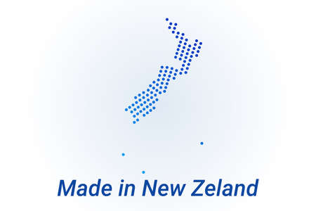 Map icon of New Zealand. Vector  illustration with text Made in New Zealand. Blue halftone dots background. Round pixels. Modern digital graphic design. Stock Illustratie