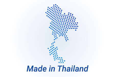 Map icon of Thailand.   illustration with text Made in Thailand. Blue halftone dots background. Round pixels. Modern digital graphic design.