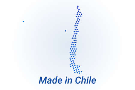 Map icon of Chile. Vector   illustration with text Made in Chile. Blue halftone dots background. Round pixels. Modern digital graphic design. Stock Illustratie