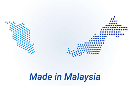 Map icon of Malaysia. Vector   illustration with text Made in Malaysia. Blue halftone dots background. Round pixels. Modern digital graphic design.