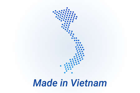 Map icon of Vietnam. Vector  illustration with text Made in Vietnam. Blue halftone dots background. Round pixels. Modern digital graphic design.