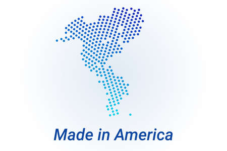 Map icon of Continent America, North and South America. Vector  illustration with text Made in America. Blue halftone dots background. Round pixels