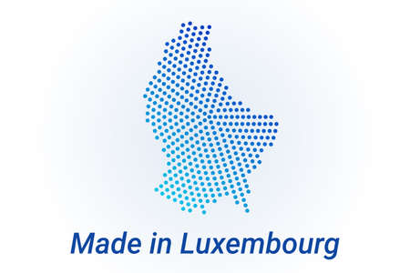 Map icon of Luxembourg. Vector  illustration with text Made in Luxembourg. Blue halftone dots background. Round pixels