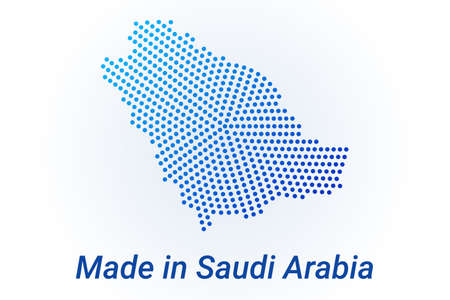 Map icon of Saudi Arabia. Vector  illustration with text Made in Saudi Arabia. Blue halftone dots background. Round pixels. Modern digital graphic design. Light white backdrop