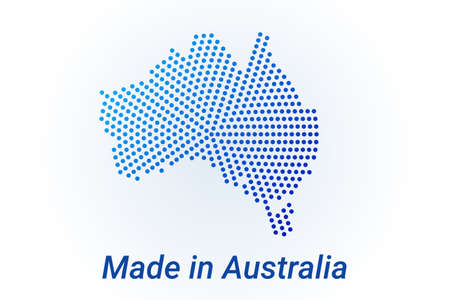 Map icon of Australia. Vector  illustration with text Made in Australia. Blue halftone dots background. Round pixels. Modern digital graphic design. Light white backdrop