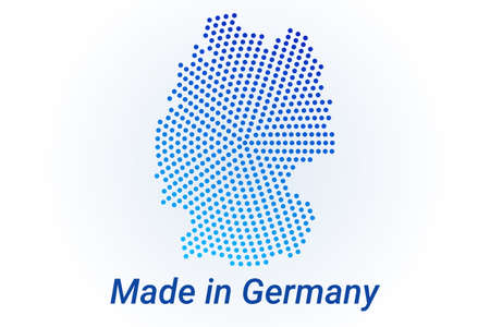Map icon of Germany. Vector  illustration with text Made in Germany. Blue halftone dots background. Round pixels. Modern digital graphic design. Light white backdrop