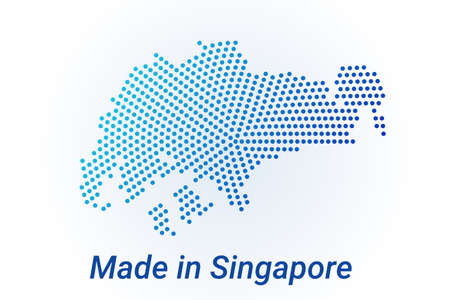 Map icon of Singapore. Vector  illustration with text Made in Singapore. Blue halftone dots background. Round pixels. Modern digital graphic design. Light white backdrop
