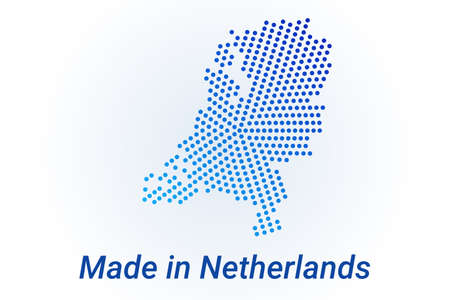Map icon of Netherlands. Vector   illustration with text Made in Netherlands. Blue halftone dots background. Round pixels. Modern digital graphic design.