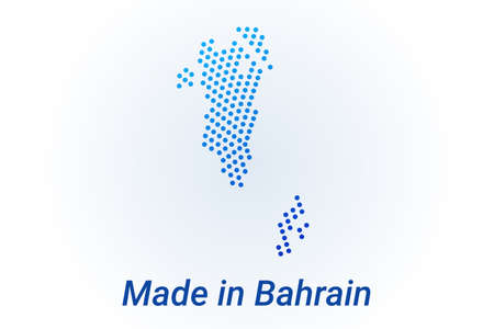 Map icon of Bahrain. Vector   illustration with text Made in Bahrain. Blue halftone dots background. Round pixels. Modern digital graphic design.