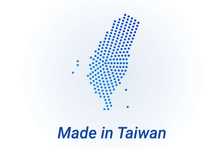 Map icon of Taiwan. Vector   illustration with text Made in Taiwan. Blue halftone dots background. Round pixels. Modern digital graphic design.