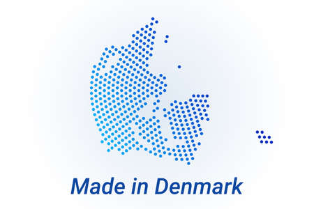 Map icon of Denmark. Vector illustration with text Made in Denmark. Blue halftone dots background. Round pixels. Modern digital graphic design.