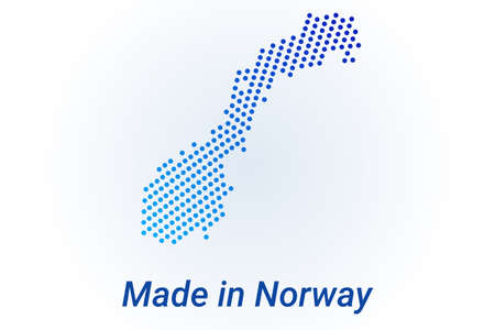 Map icon of Norway. Vector  illustration with text Made in Norway. Blue halftone dots background. Round pixels. Modern digital graphic design.