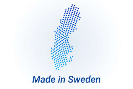 Map icon of Sweden. Vector illustration with text Made in Sweden. Blue halftone dots background. Round pixels. Modern digital graphic design. Stock Illustratie