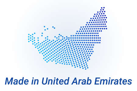 Map icon of United Arab Emirates. Vector  illustration with text Made in United Arab Emirates. Blue halftone dots background. Round pixels. Modern digital graphic design