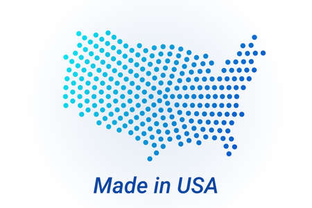Map icon of United States. Vector  illustration with text Made in United States. Blue halftone dots background. Round pixels. Modern digital graphic design Stock Illustratie