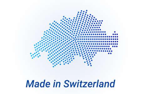 Map icon of Switzerland. Vector  illustration with text Made in Switzerland. Blue halftone dots background. Round pixels. Modern digital graphic design. Stock Illustratie