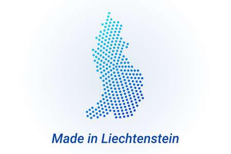 Map icon of Liechtenstein. Vector   illustration with text Made in Liechtenstein. Blue halftone dots background. Round pixels. Modern digital graphic design