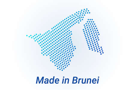 Map icon of Brunei. Vector  illustration with text Made in Brunei. Blue halftone dots background. Round pixels. Modern digital graphic design Stock Illustratie